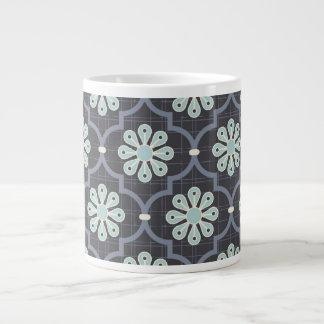 Elegant Slate Blue Abstract Floral Large Coffee Mug