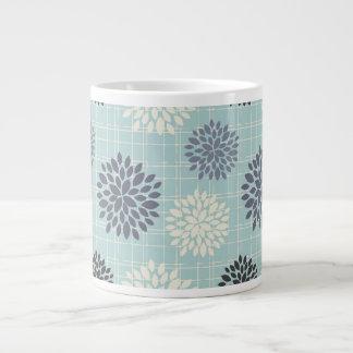 Elegant Slate Blue Floral Large Coffee Mug