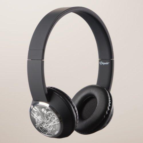 Elegant Sliver metal steampunk watch gears Headphones