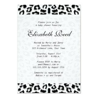 Elegant Snow Leopard Print Baby Shower Card