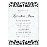Elegant Snow Leopard Print Baby Shower 5x7 Paper Invitation Card