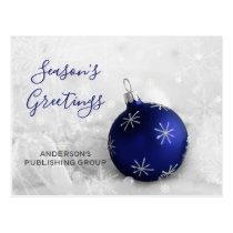 Elegant Snow Scene Navy Ornament Business holiday Postcard