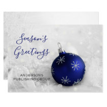 Elegant Snow Scene Navy Ornament Company Card