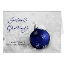 Elegant Snow Scene Navy Ornament Company Holiday Card