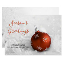 Elegant Snow Scene Orange Ornament Company Card