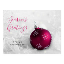 Elegant Snow Scene Pink Ornament Business holiday Postcard