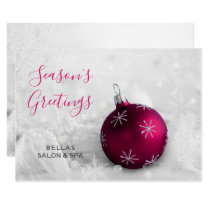 Elegant Snow Scene Pink Ornament Company Card