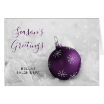 Elegant Snow Scene Purple Ornament Company Holiday Card