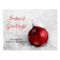 Elegant Snow Scene Red Ornament Business holiday Postcard