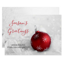 Elegant Snow Scene Red Ornament Company Card