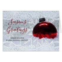 Elegant Snow Scene Red Ornament Company Holiday Card
