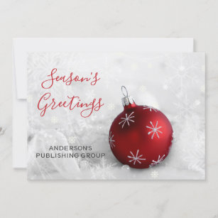 Business holiday cards zazzle elegant snow scene red ornament company holiday card m4hsunfo