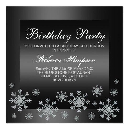 Elegant Snow Silver & Black Birthday Invitation