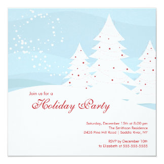 Elegant Snow Trees Holiday Party Invitation
