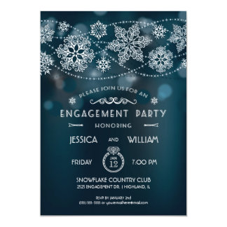 Elegant Snowflake Engagement Party Invitation