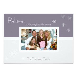 Elegant Snowflake Flat Holiday Card(lavender silv) 5x7 Paper Invitation Card