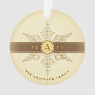 Elegant Snowflake Monogrammed Christmas Ornament