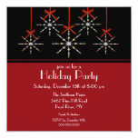 "Elegant Snowflake Ornament Holiday Party 5.25"" Square Invitation Card"