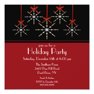 Elegant Snowflake Ornament Holiday Party Invitation