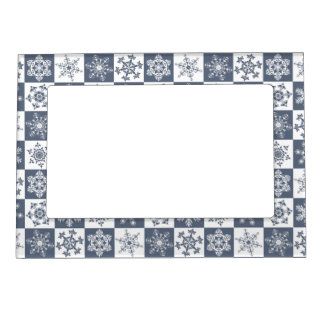 Elegant Snowflake Pattern Christmas Holiday Party Magnetic Frame