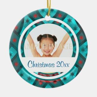 Elegant snowflake photo personalize ceramic ornament