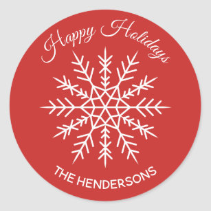 """25 2/"""" HAPPY HOLIDAYS CIRCLE Labels Stickers SILVER CHRISTMAS HOLIDAY SEALS NEW"""