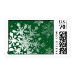 Elegant Snowflake Stamp - Emerald Green