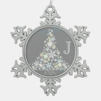 Elegant Snowflake Tree + Monogram Pewter Ornaments
