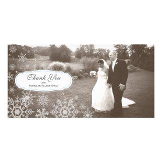 Elegant Snowflake Wedding Thank You Photo Card