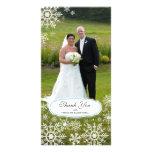 Elegant Snowflake Wedding Thank You Custom Photo Card