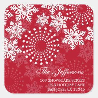 Elegant Snowflakes 3 - holiday address label Square Sticker