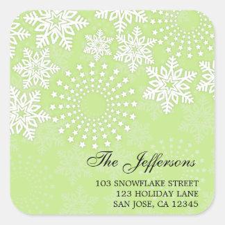 Elegant Snowflakes 5 - holiday address label Square Sticker