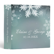Elegant snowflakes Aqua winter Wedding Planner 3 Ring Binder