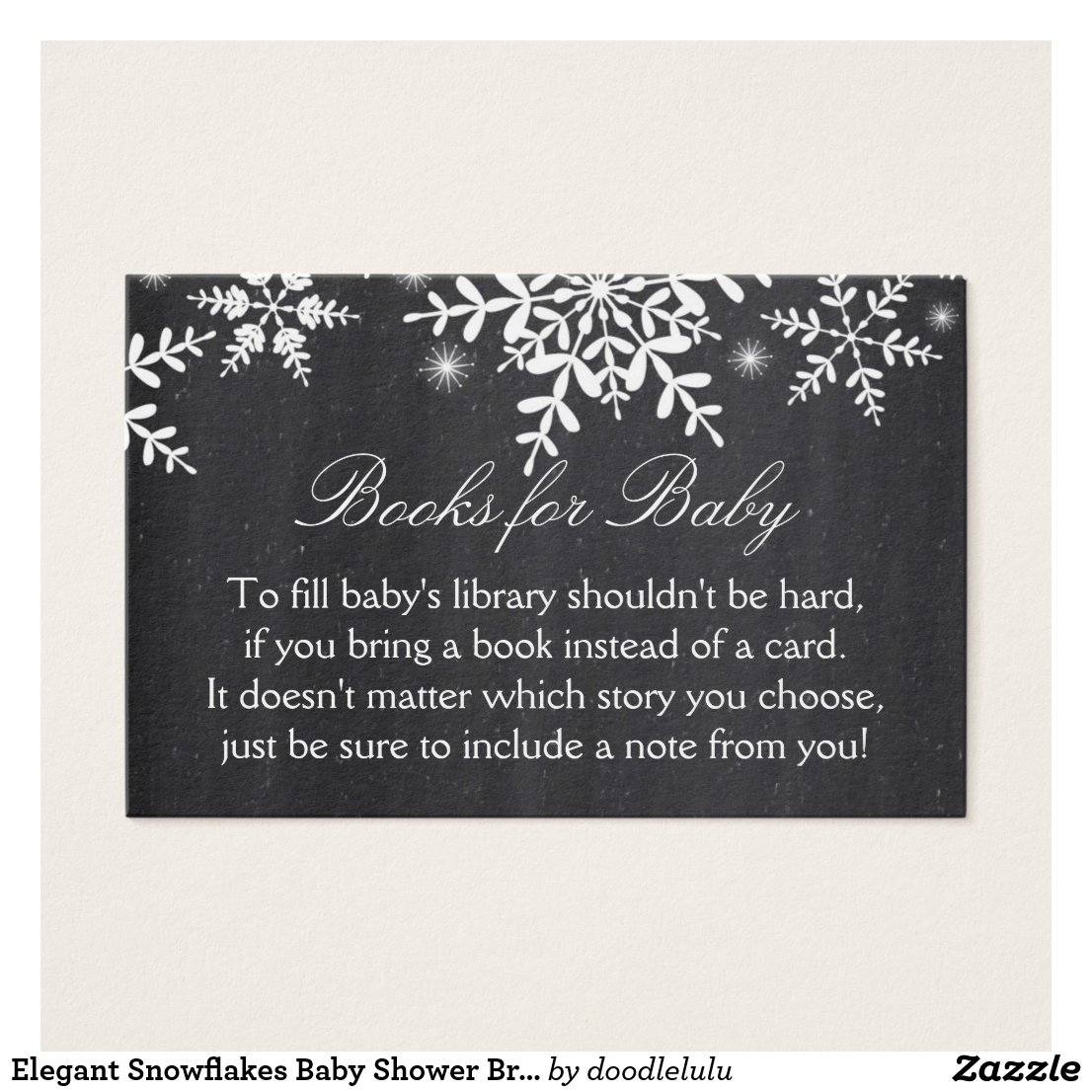 Elegant Snowflakes Baby Shower Bring a Book Card