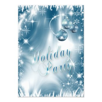 Elegant Snowflakes Blue Frost Holiday Party Card