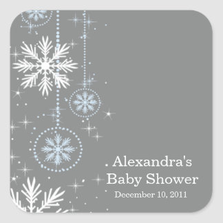 Elegant Snowflakes Blue & Grey Baby Shower Square Square Sticker