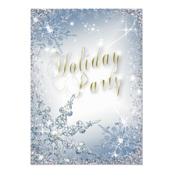 Elegant Snowflakes Blue Ice Holiday Party Invit Card