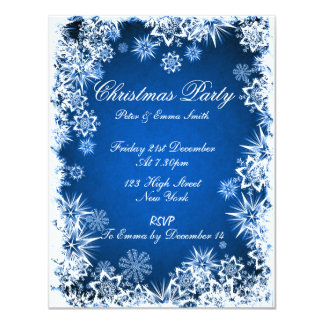 Elegant Snowflakes Blue Party Invitation
