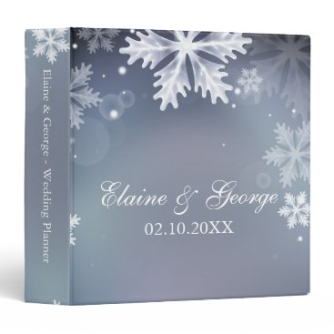 Elegant snowflakes Blue winter Wedding Planner 3 Ring Binder