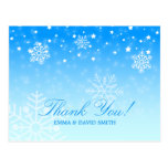 Elegant Snowflakes Blue Winter Wedding Thank You Post Cards