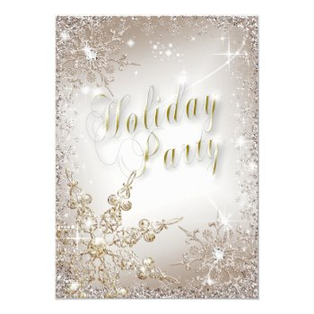 Elegant Snowflakes Bronze Mist Holiday Party Card