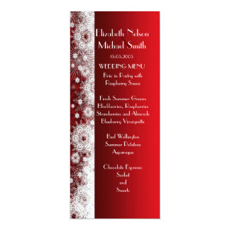 Elegant Snowflakes Christmas Damask Wedding Menu Personalized Invitation