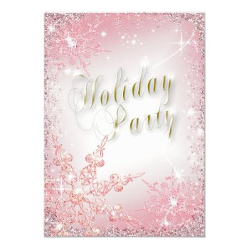 Elegant Snowflakes Coral Pink Holiday Party Card