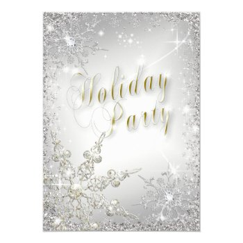 Elegant Snowflakes Gold Frost Holiday Party Card