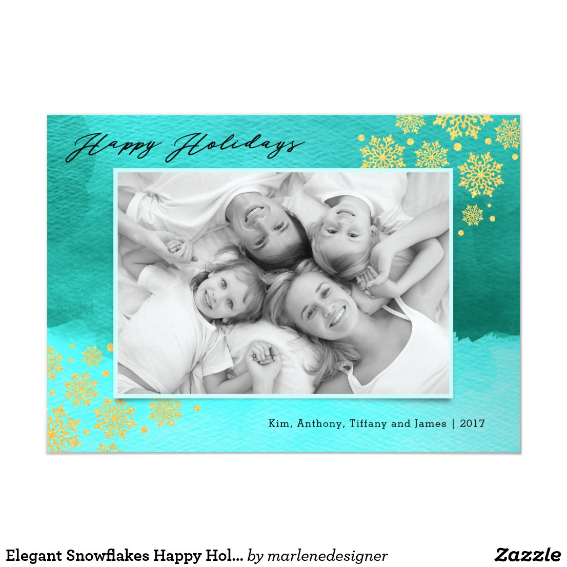 Elegant Snowflakes Happy Holidays Photo Card