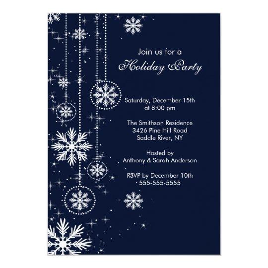 Elegant Snowflakes Holiday Party Invitation