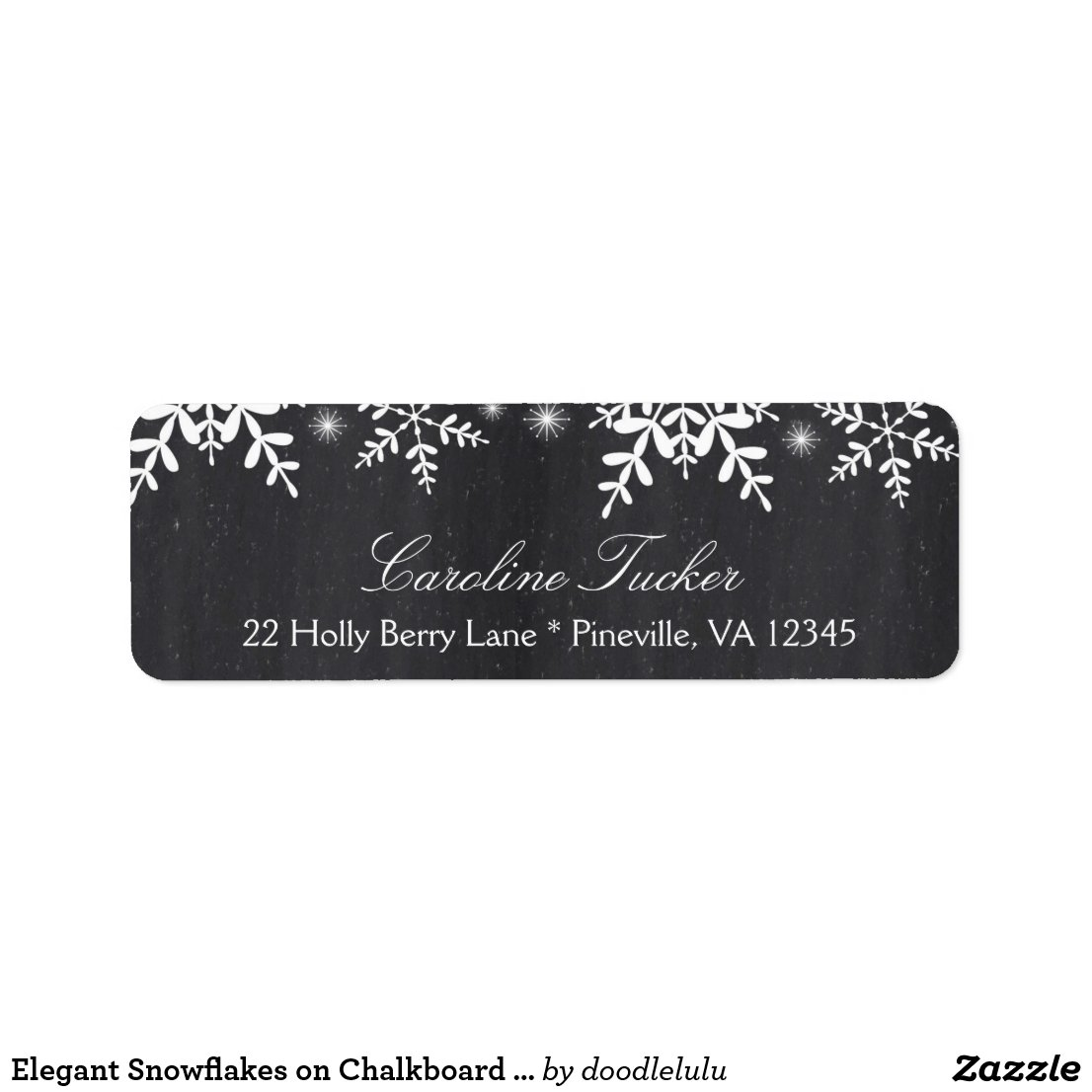 Elegant Snowflakes on Chalkboard WinterBaby Shower Label