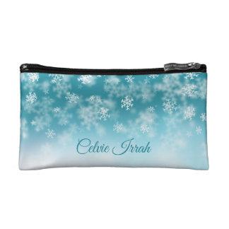 Elegant Snowflakes Personalized   Cosmetic Bag