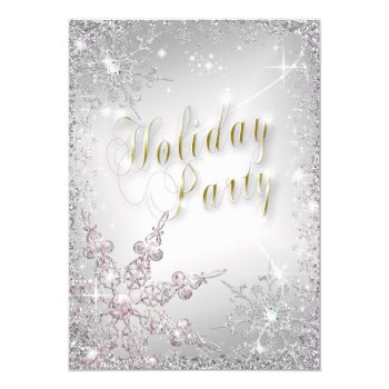 Elegant Snowflakes Pink Frost Holiday Party Invit Card