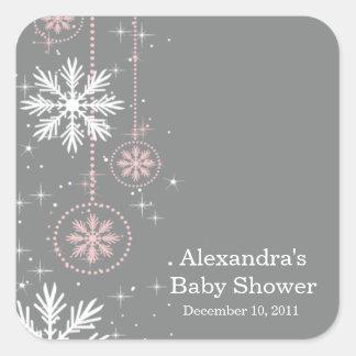 Elegant Snowflakes Pink & Grey Baby Shower Square Square Sticker